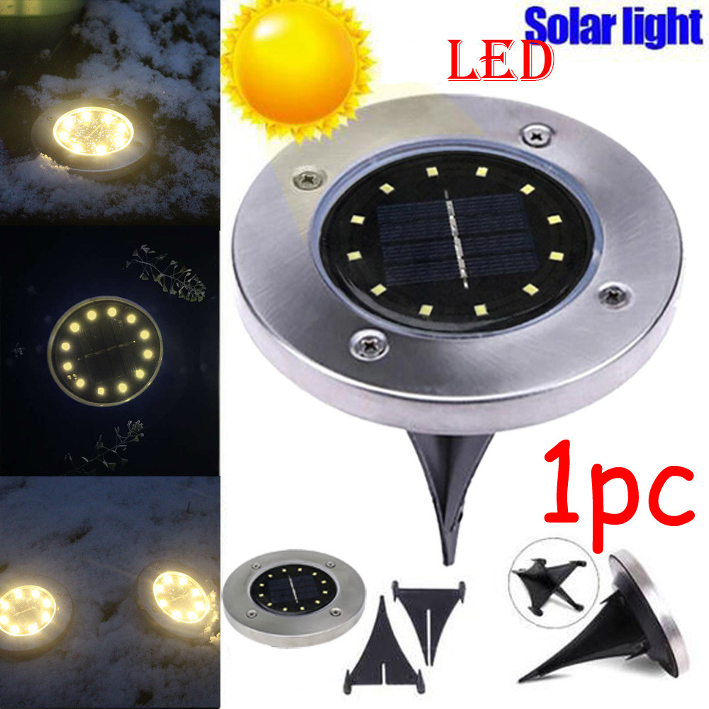 8-LED Solar Powered Flat Buried Light In-Ground Lamp Outdoors Garden Decking