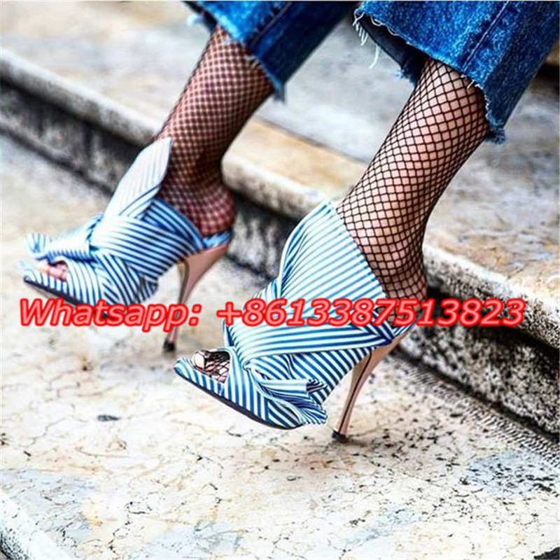 Blue Striped Canvas Cross Bow Tie Strappy Fashion Sandals Butterfly-knot Peep Toe Stiletto High Heels Slip-On Summer Shoes Woman