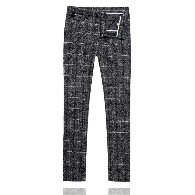 Men Plaid Suit Pant Slim Design Dress Pants Men Yellow Blue Gray Black Leisure Men Pant Asia Size S M L XL XXL XXXL 4XL 5XL