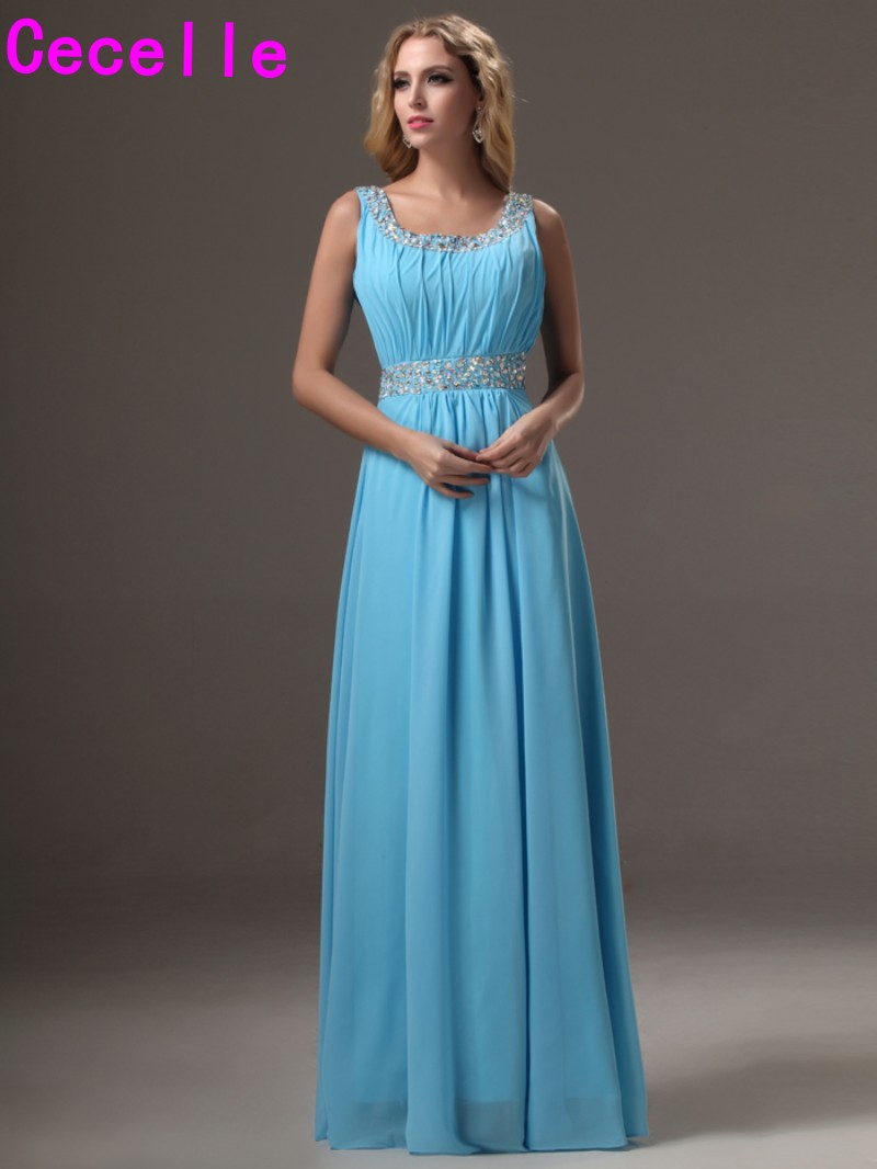 2017 simple blue long floor length scoop chiffon bridesmaid 2017 simple blue long floor length scoop chiffon bridesmaid dresses gowns with straps beaded pleats formal wedding party dress in bridesmaid dresses from ombrellifo Images