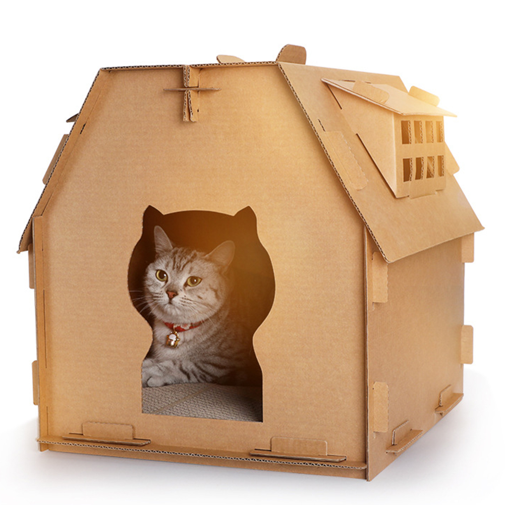 Diy Meuble En Carton us $17.76 19% off|pet furniture diy carton box cat house have small window  tools scratch board self assembly kitten indoor corrugated paper