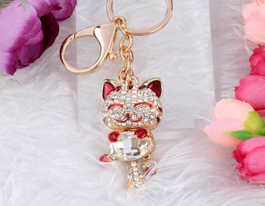 Hot Selling Gold Rhinestone Crystal Gem Charms Cat Keychain Keys Car Bag Key Chain Handbag Couple Key Ring Jewelry DIY B232
