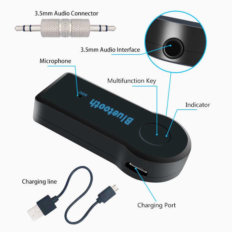 Bluetooth レシーバー 3.5 ミリメートルジャックの Aux カーオーディオポータブルスピーカーヘッドホン用ハンズフリーカーキット