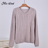 Mix Wind Pearl Beaded Knit Jumper Autumn Winter Womens Pullover Sweaters Grey V Neck Long Sleeve
