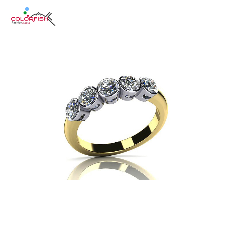 COLORFISH 1 Carat Bezel Set Five Stone Anniversary Ring Sparkling Round Drill Sona 925 Sterling Silver Female Wedding Band Ring