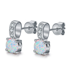Hot Selling Fine Jewelry 925 Sterling Silver Round White Opal Classic Stone Women Stud Earrings Valentine's Day Gift For Lover arlight светильник ltd 80r opal roll 2x3w day white