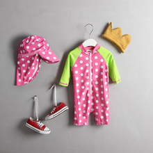 Baby Girl's Swimsuit Kids Swimwear One Piece Rashguards Polka Dots Print Patchwork Swimsuits For Girls Beach Wear Bathing Suit