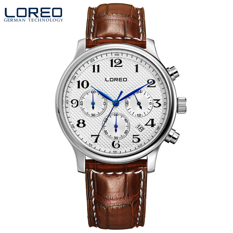 ФОТО LOREO Germany watches men luxury brand quartz watch water resistant 5ATM brown Leather belt Multifunction Calendar Chronograph