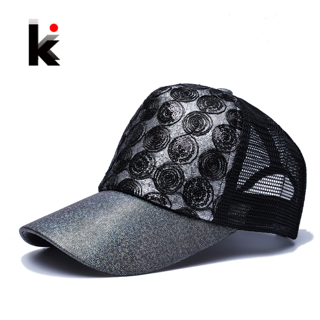 c96e18e0c30 2018 Girl  s Sun Cap Snapback Flashes Hip Hop Trucker Hat 5 Panel  Breathable Mesh cap Summer Baseball Sun Hats For Women