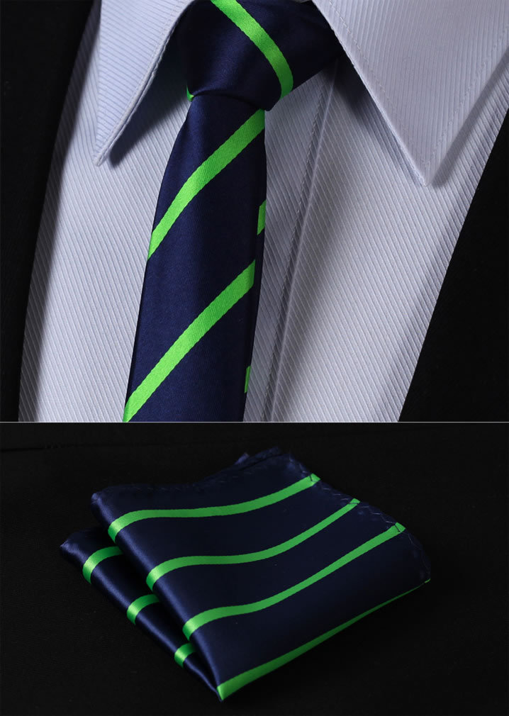 "TS2013G5 Green Navy Blue Stripe 2.17"" 100%Silk Woven Slim Skinny Narrow Men Tie Necktie Handkerchief Pocket Square Suit Set"