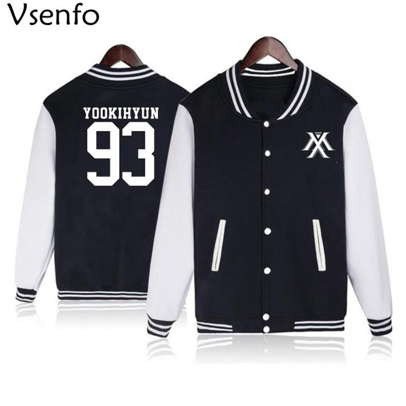 Vsenfo Kpop Monsta X Hoodie Women Men Casual Fleece Autumn Winter Baseball Jacket Tracksuit Womens Hoodies