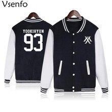Vsenfo Kpop Monsta X Hoodie Women Men Casual Fleece Autumn Winter Baseball Jacket Tracksuit Womens Hoodies Long Sleeve Black