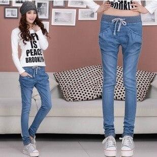 2017 spring autumn loose large size jeans harem pants female fashion elastic waist jeans short denim pants women A0091 чехлы для телефонов wb чехол для samsung s5