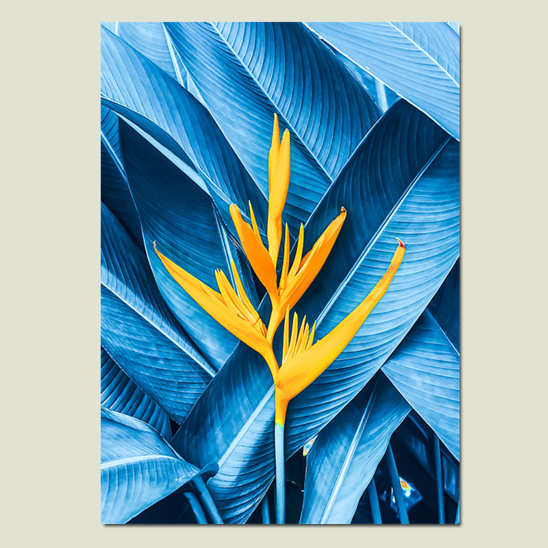 Us 8 15 49 Off Cactus Abstract Painting Blue Leaf Wall Art Painting Posters And Prints Yellow Flower Canvas Prints Art Paintings Home Unframed In