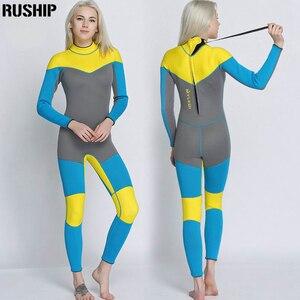 Image 2 - 새로운 3mm 품질 여성 탄성 꽉 네오프렌 잠수복 잠수복 컬러 스티칭 서핑 장비 해파리 의류 긴 소매