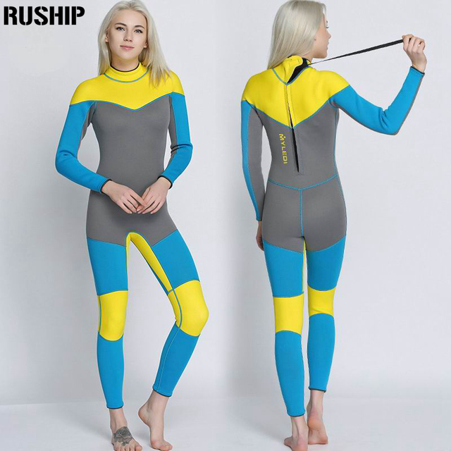New 3mm quality Women Elastic Tight neoprene Diving suit wetsuit color stitching Surf Equipment Jellyfish clothing long sleeved