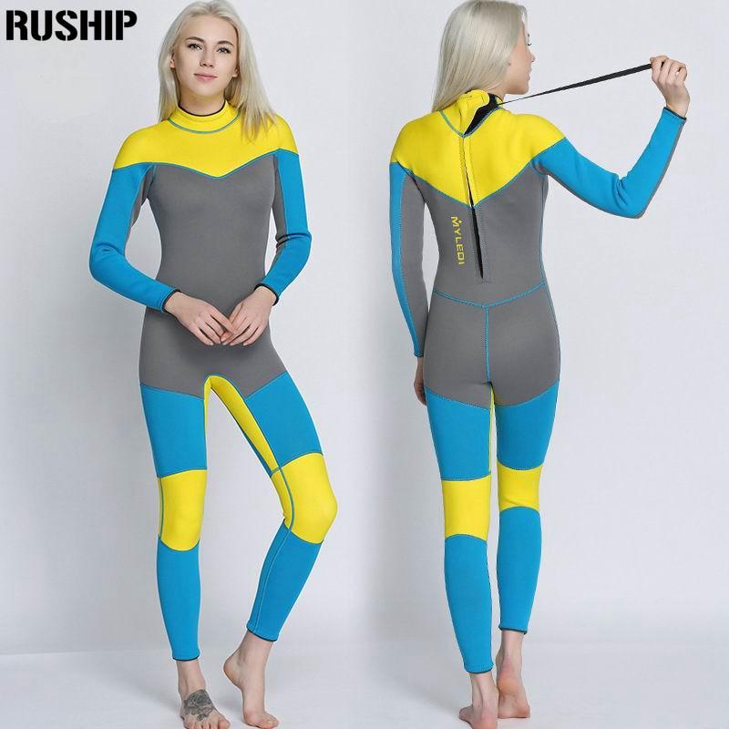 Nouveau 3mm qualité Femmes Élastique Serré néoprène combinaison de Plongée combinaison couleur couture Équipement de Surf Méduses vêtements à manches longues