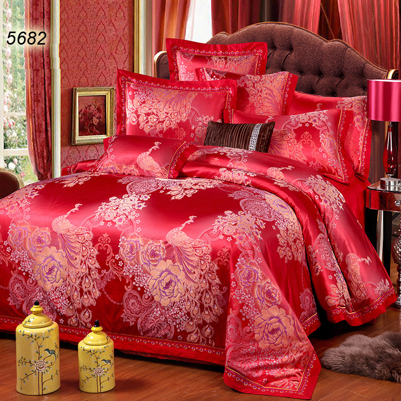 Chinese traditional red peakcock tribute silk 4pcs quilt/duvet cover set  plants floral wedding bed