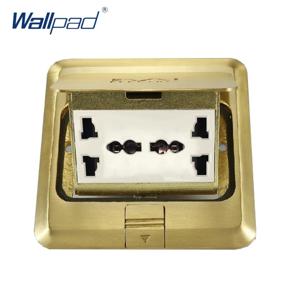 6 Pin Universal Prise De Sol Wallpad De Luxe Cuivre et SS304 Panneau Amortissement Lent Ouvert Pour Terrain Avec Mouting Boîte AC110-250V