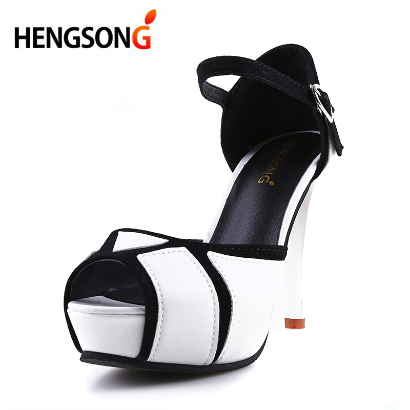 цены HENGSONG Wedding Party Shoes Women Shoes 8cm High-Heel Pumps Fish Mouth With Color Block Thin Heels Buckle Strap Female Sandals