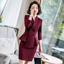 Suit suit womens spring and autumn new England wind irregular professional dress fashion solid color work clothes two-piece