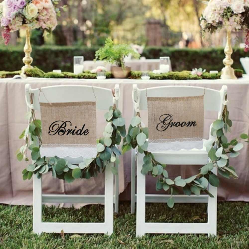 Ourwarm Pernikahan Kursi Tanda 1 Pair Pengantin Pria Goni Renda Banner Set Garland Fotografi Alat Peraga Dekorasi Pesta Pernikahan