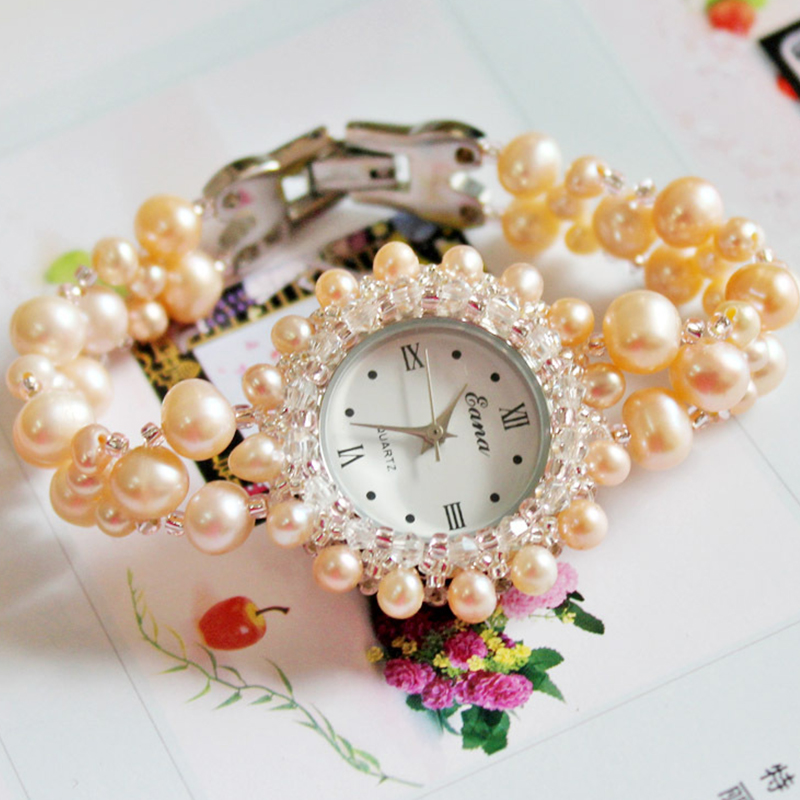 2017 Femmes De Luxe Montre Rose Classique Grosse Perle Bracelet Montre-Bracelet Sport Mode Casual Robe Quartz Montre Horloge