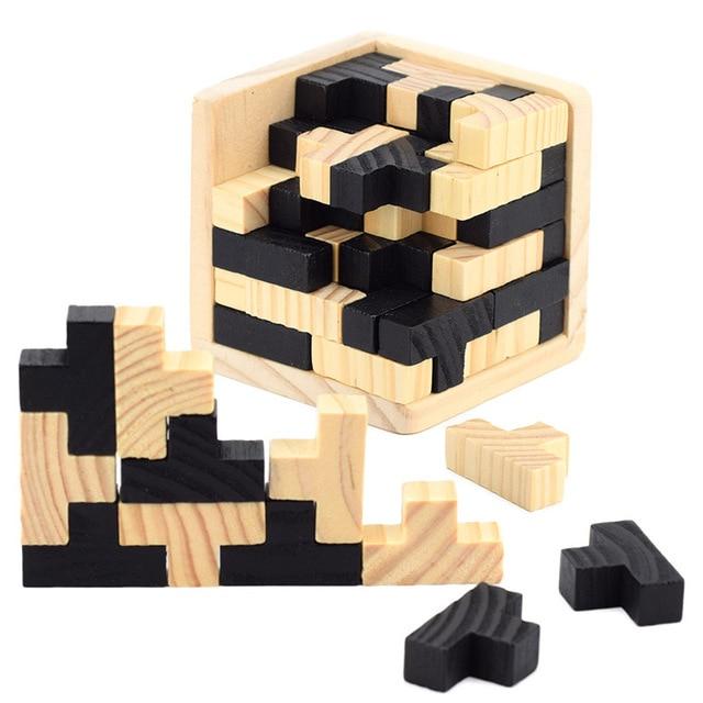3D Tetris Game Puzzle Luban Lock Wooden Brain Teaser Magic Cube ...