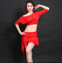 Sexy Women Soft Belly Dance Costume Oriental Dancing Training Clothing Top+Skirt Suit for Womens Girls belly dance wear DW007