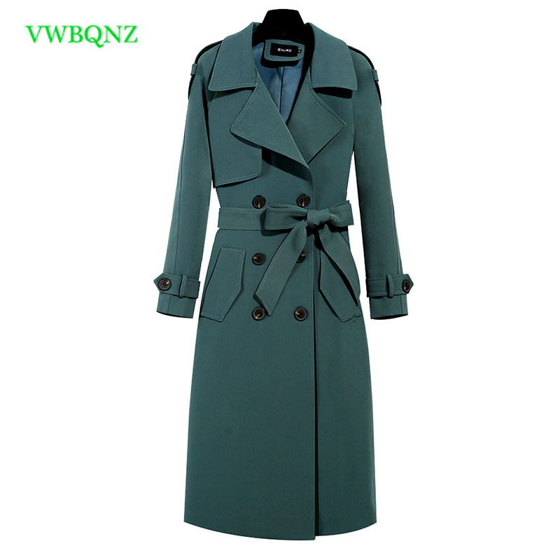 Autumn winter Clothing Solid Color Lady Long Windbreak coat Double Breasted Slim Bur Women   Trench   Coats With Belt outwear 1011