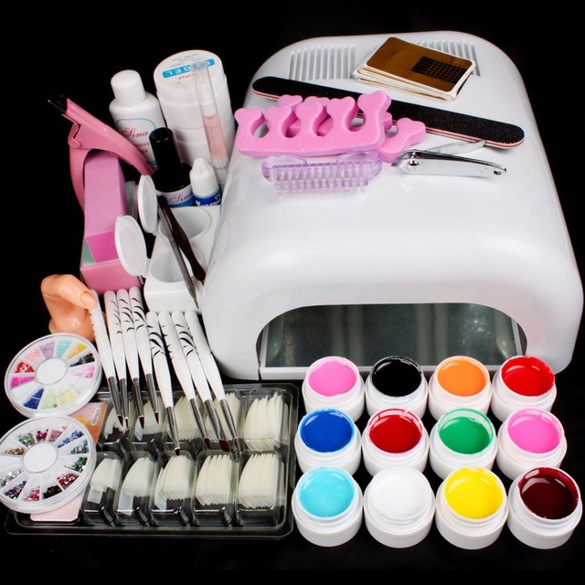 UC-90  Pro Full 36W White Cure Lamp Dryer & 12 Color UV Gel Nail Art Tools Sets Kits nail curing manicure