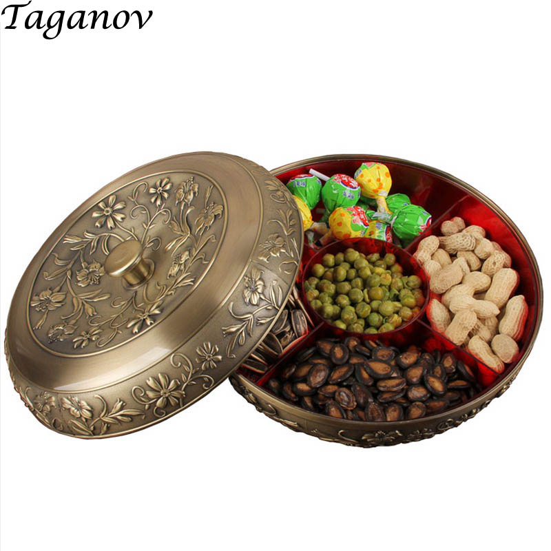 bronze alloy Dried fruit division tray metal fruit dish Candy Box With Lid gift Snacks Storage Box plate decorative storage tray