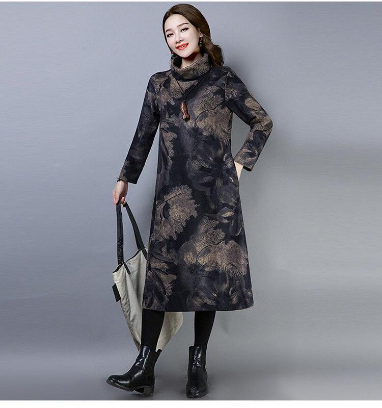 2019 New Women Spring Autumn Dresses Turtleneck Printed Female Long Sleeve Vintage Robe Dress Vestido 68