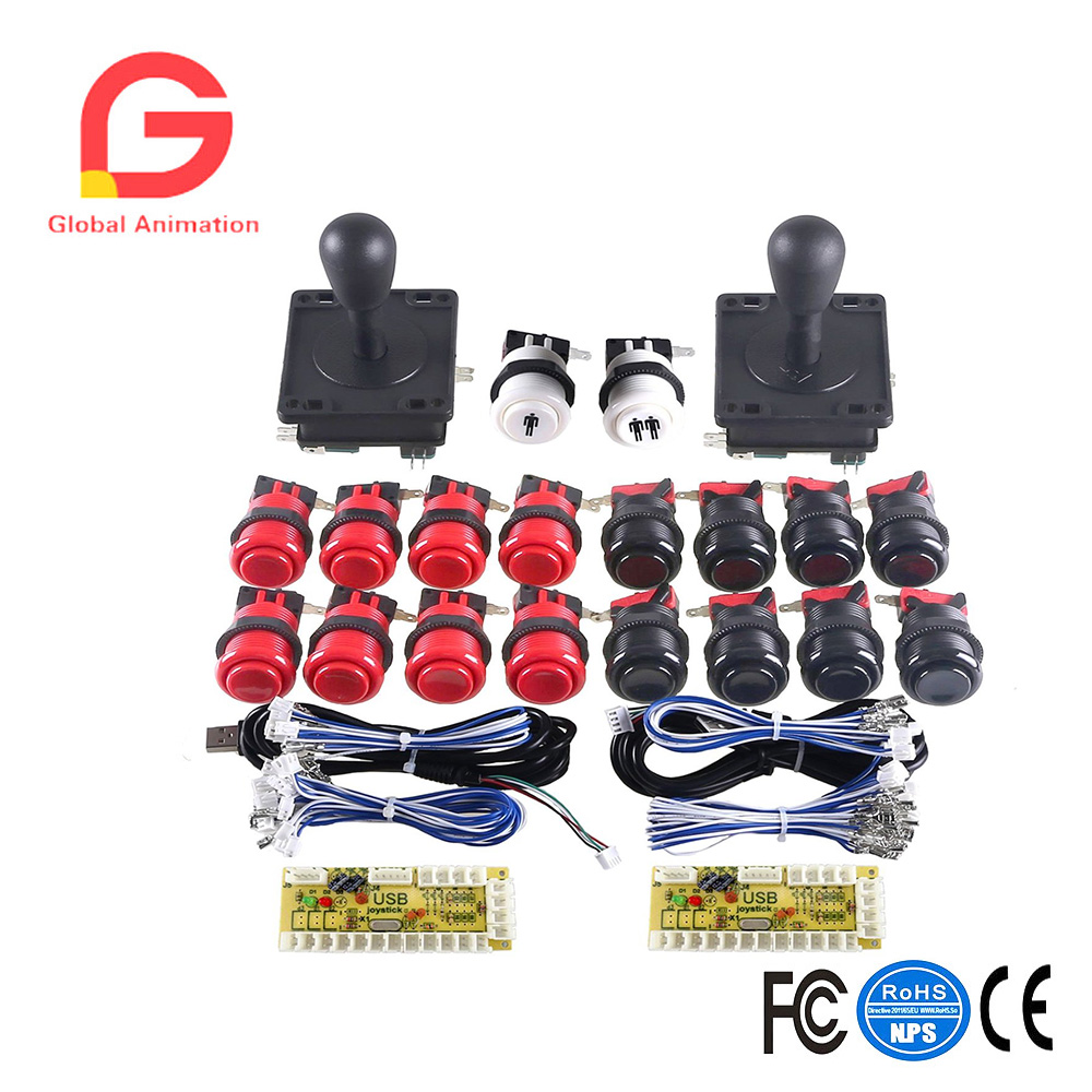 Arcade Button and Joystick Kit DIY Game Replacement Parts for Mame Cabinet 2xZero Delay USB Encoder 2x 8 Way Arcade joystick