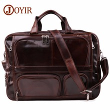 JOYIR Classic Mens Briefcase Tote Men Messenger Bag Travel Laptop For Document Business Genuine Leather Male