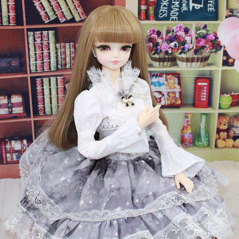 1/4 poupée articulée dans une robe grise jolie poupée BJD de 45 cm avec de longs cheveux bruns fille jouets de poupée personnalisés
