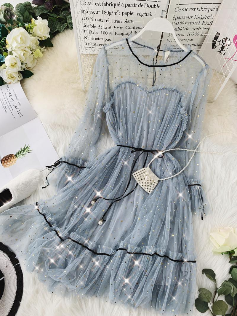 HISUMA spring autumn new women Star sequins gauze flare sleeve lace-up Princess dress female elegant o-neck mesh puff dresses 58