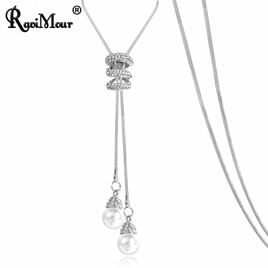 RAVIMOUR Simulated Pearl Choker Necklaces for Women Silver Color Chain Long Necklace Pendant Jewelry Accessories Trendy Kolye 1