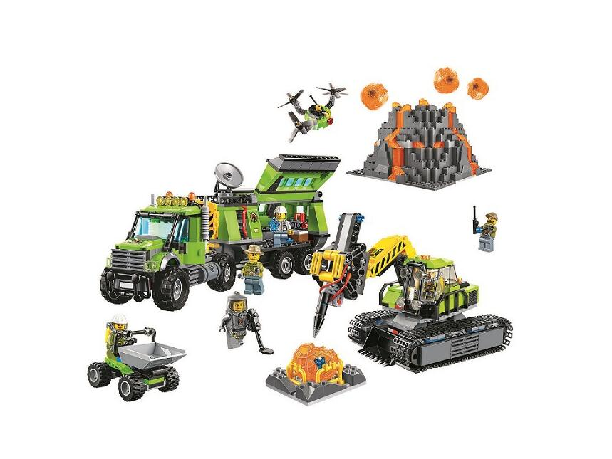 10641 Bela City Series Volcano Exploration Base Geological Prospecting Building Block Bricks Toys Gift For Children L60124 lepin 02005 volcano exploration base building bricks toys for children game model car gift compatible with decool 60124