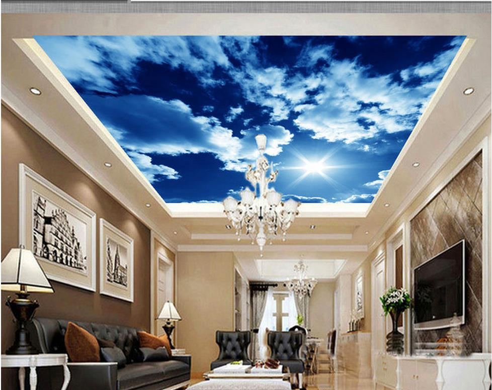 3d customized wallpaper White clouds sky ceiling roof wall ...