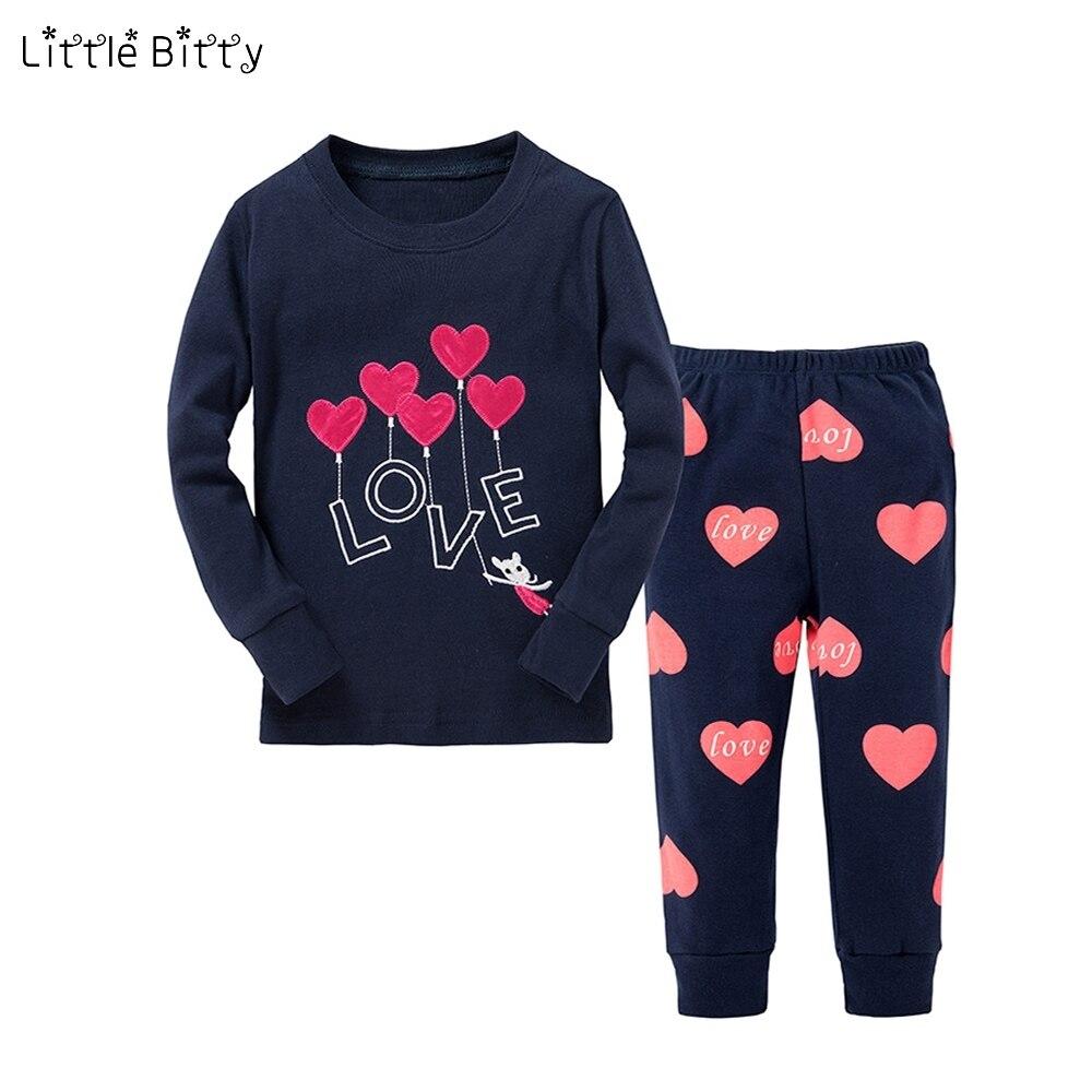 New Baby Girls Pajamas Sets Children Long Sleeve Love Heart Emboridery Pyjamas Kids Pajamas For 2-8 Years Kid Children Nightwear