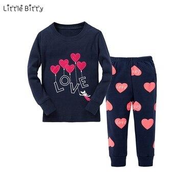 جديد طفل الفتيات منامة مجموعات الأطفال طويلة الأكمام الحب القلب Emboridery بيجامة بيجامات للأطفال لمدة 2-8 سنوات طفل ملابس نوم الأطفال