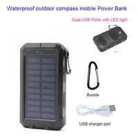 Bússola à prova d' água ao ar livre Banco de Energia móvel 20000 mA de carregamento duplo Portas USB com DIODO EMISSOR de luz solar phone charger abastecimento|usb mobile power bank -