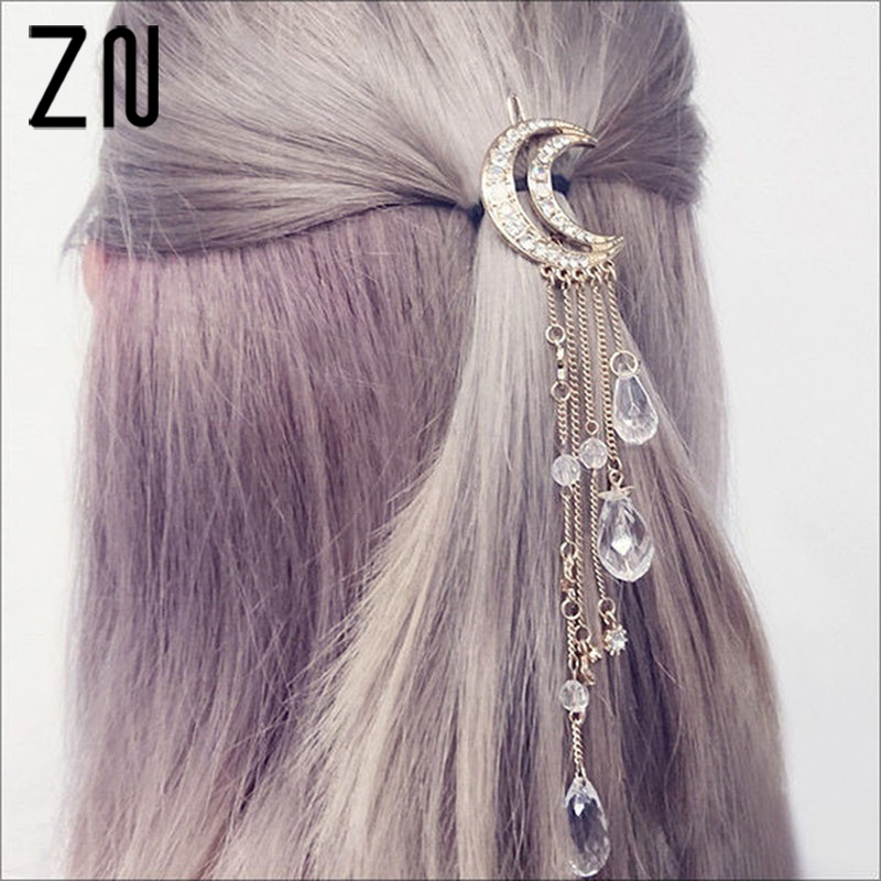 ZN Charming Crystal Moon Hair Clip Tassels Long Accessories Femme Bijoux Gold/Silver/Rose Gold/Bronze Color