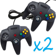 2 PCS NEW Long Controller Game System for Nintendo N64 Black