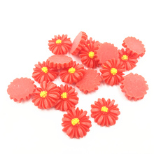 20Pcs Red Cameo Cabochon Decoration Sun Flower Plant Resin Flat Back Fashion Jewelry DIY Findings 17mm