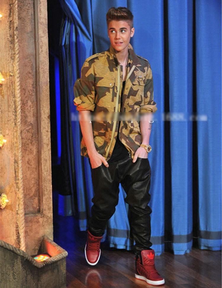 PU Leather Pants Men Elastic Waist Plus Size Side Zipper Hip Hop Leather Trousers Fashion Kanye West Justin Bieber Style Pants (13)