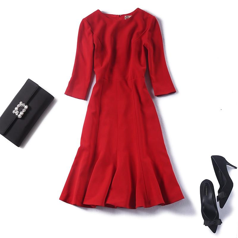 Women fashion 3/4 sleeve elegant dress thick elegant mermaid office lady red christmas dresses belt new 2018 autumn winter blue