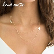 KISSWIFE New Fashion Handmade Jewelry Summer Simple Wild Lady Double Peace Pigeon Necklace Bohemian Multi-layer Necklace(China)