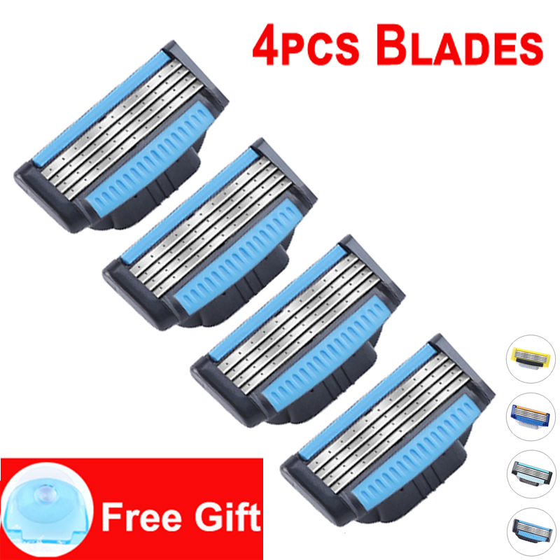 Giulietta New Razor Blade For Men 4pcs lot Brand Original 4 Layer Stainless Steel Man Manual Shaving Blades (Only Blade) in Razor from Beauty Health